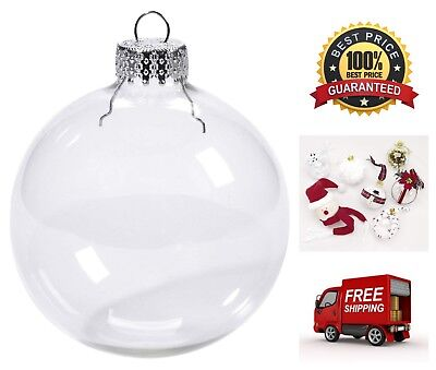 - 6-Piece Clear Glass Christmas Decorations 70mm Ball Set Heavy Duty Ornaments
