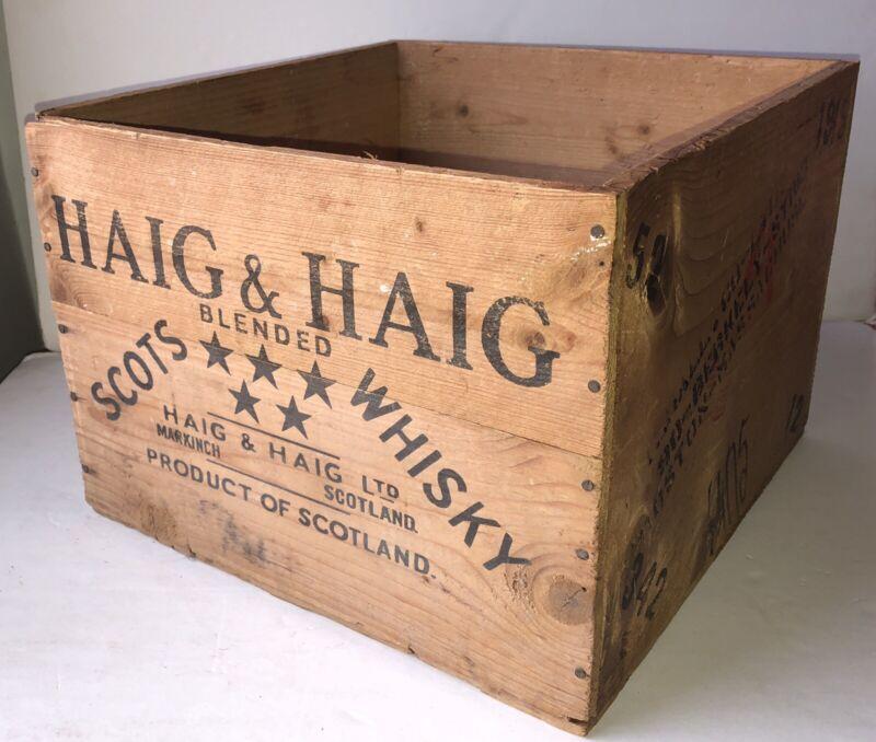 Vintage Haig & Haig Whisky Distillery Wooden Crate