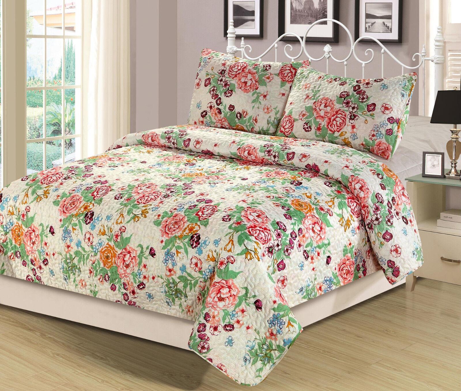 Full/Queen or King Quilt Floral Pink Blue Orange Flowers Bed