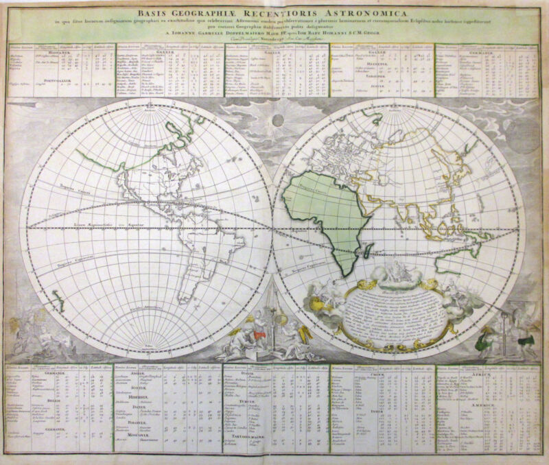 1740 Homann & Doppelmayr map of the World in Hemispheres - ORIGINAL MAP