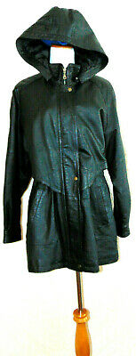 LIZ BAKER ESSENTIALS WOMENS BLACK LEATHER PARKA LEATHER COAT LEATHER JACKET SZ L