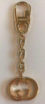 GUCCI Vintage Interlocking G Keychain Key Ring Gold Tone Brass Screw Lock Italy