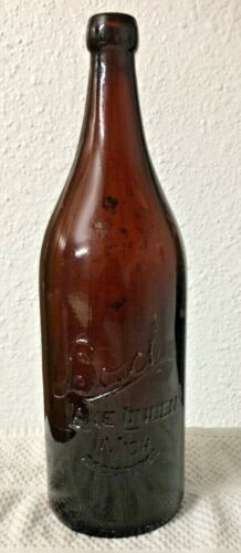Vintage Amber BOSCH BEER BOTTLE Bosch Brewing, LAKE LINDEN, MI