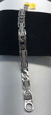 14K White Gold & Cz Cuban chain Link mens  Bracelet jewelry  8.5