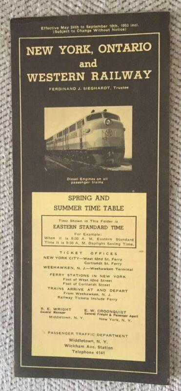 New York, Ontario & Western Railway 5/24/53 Public Timetable