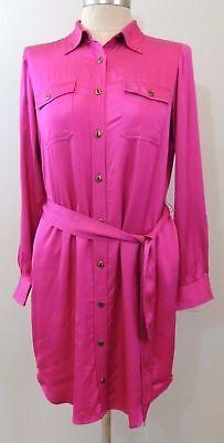 Ralph Lauren Button-front Belted Military Satin Shirt Dress 4 6 8 14 P Petite