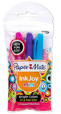 Papermate Inkjoy Mini Bright Colors Medium Pt Ballpoint Pens Pack Of 3 New In Pk