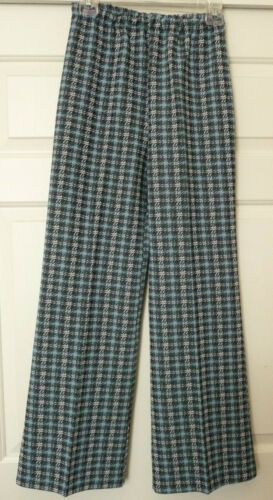 Womens Vintage 70s HIGH WAISTED Polyester Hippie Bell Bottom Pants Size 14