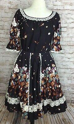 Pitchfork Brand Square Dance Costume Outfit Skirt Blouse Black Floral sz medium