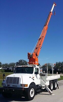 Altec D947-tr 7 Ton 47 Crane 1998 International 4900 Flatbed Dt466 Diesel