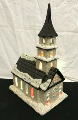 BYRON MOLD CHRISTMAS VILLAGE LIGHT UP COUNTRY CHURCH STAINED WINDOW SNOW FLOCKED
