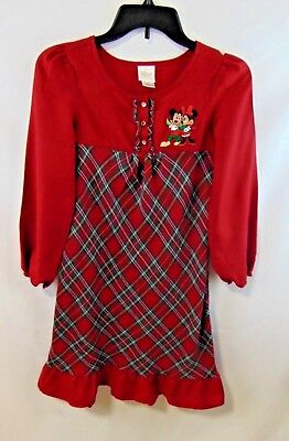 Disney Store Girls 10 Dress For Christmas Red/Green Plaid Mickey-Minnie PreOwned ()