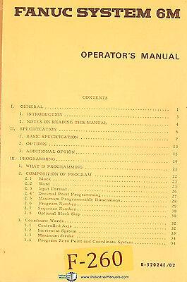 Fanuc 6m Cnc Machine Control B-52024e02 Operations Programming Manual 1980