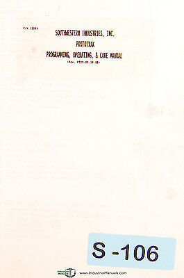 Southwestern Prototrak Milling Mchine Programming - Operations Manual 1989