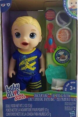 Baby Alive Boy Doll Super Snacks Snackin' Luke (Blonde) NEW, used for sale  Latonia