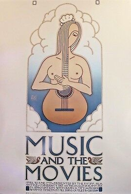 """David Lance Goines """"Music And The Movies"""" ORIGINAL Litho Poster 1977 20x28"""