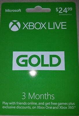 (6 Months total) Two Xbox LIVE 3 Month Gold Membership Cards (Physical Cards) for sale  Findlay