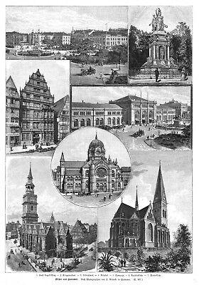 Hannover, Sammelblatt, Original-Holzstich von 1891