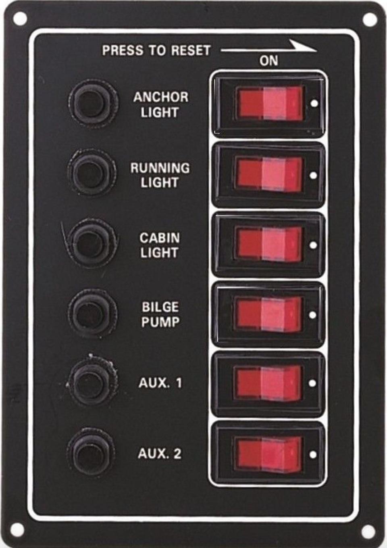 Marine 12V 6 Gang Black Waterproof Switch Panel With Circuit Breakers 10061-BK
