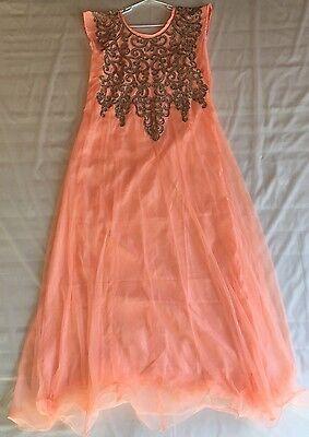 New Designer Indian indo western women Kurta dress georgette peach ethnic top 36