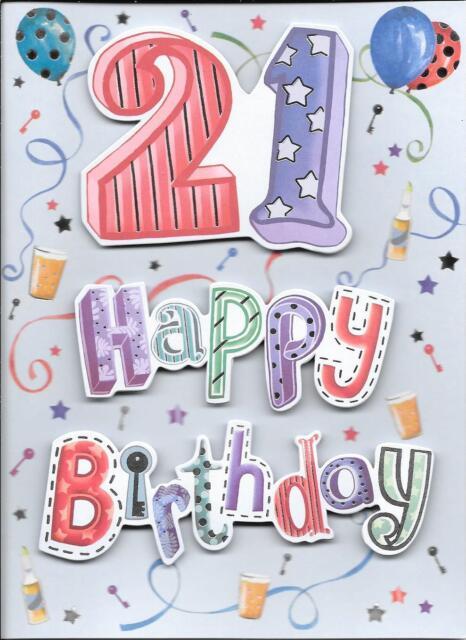 SIMPLE 21st BIRTHDAY CARD - AGE 21 - 3D/DECOUPAGE