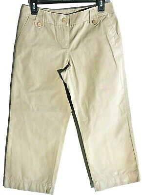 Cotton Wide Leg Capris (Tommy Bahama Womens Capris Wide Leg Cotton Khaki Casual Size 6)