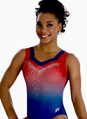 904fa08b4a92 GK ELITE Gymnastics Leotard LADY LIBERTY Sequin BLING Patriotic USA Tank  Sz: CL