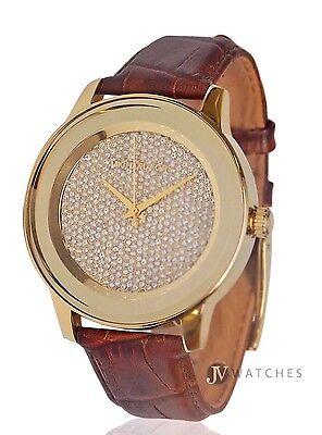 New Womens Michael Kors  Mk2455  Kinley Brown Leather Glitz Gold Tone Watch Sale