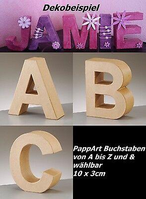 Papp Art Buchstaben oder Zahlen 10cm x 3cm, von A-Z, & o. 0-9  wählbar  ~NEU