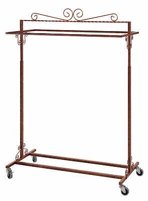 Boutique Cobblestone Double-rail Rolling Clothing Rack