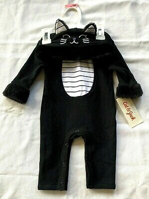 Baby Cat Face Halloween (NWT CAT JACK HALLOWEEN NB BLACK WHITE ONE PIECE OUTFIT CAT FACE HOOD FURRY)