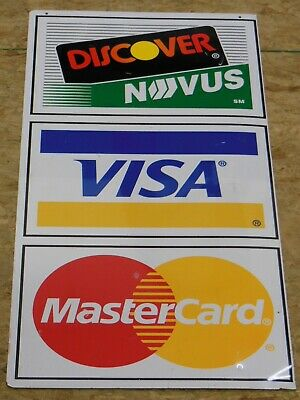 Visa Mastercard Discover Metal Credit Card Outdoor Sign For Shop Business Retail