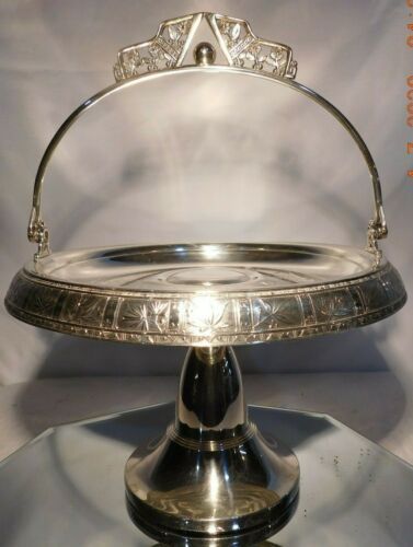 """Antique Silverplate brides basket Pairpoint Large 12"""" with excellent Silver"""