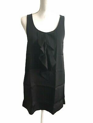 Theory Womens Layered Top Medium Solid Black Sleeveless Blouse
