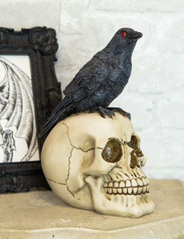 Quoth The Raven Nevermore Black Crow With Red Eyes On Macabre Skull Figurine