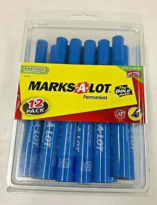 Marks-a-lot Large Blue Chisel Tip Permanent Marker Set Pack Of 12