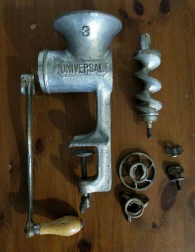 Vintage No. 3 Universal Food Chopper Meat Grinder w/ Attachments