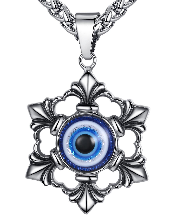Men's Stainless Steel Blue Evil Eye Fleur de lis Biker Pendant Necklace Chains, Necklaces & Pendants