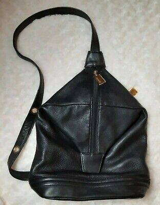 Tignanello Black Genuine Leather Backpack Purse Bag Soft