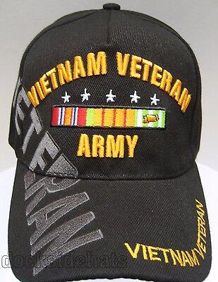U.S.ARMY VETERAN VIETNAM Cap/Hat Black NEW *FREE SHIPPING*