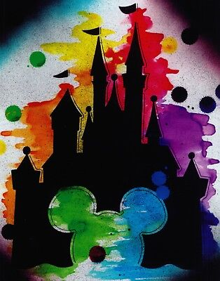 Mickey Mouse Disney Castle watercolor cartoon decor wall art print.