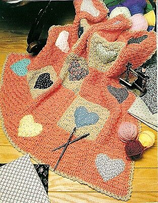 PRETTY Heart Quilt Block Afghan/Crochet Pattern INSTRUCTIONS ONLY ()