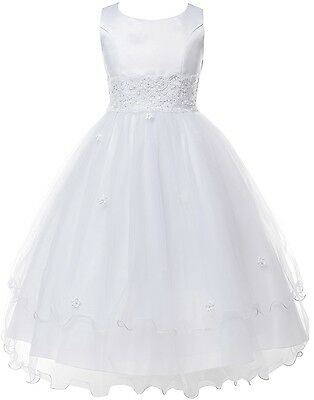 New White Lace Tulle Layered FIrst Communion Easter Flower Girl Dress SZ 2 - 16