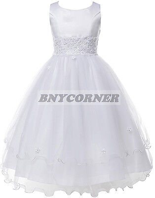 New White Layered Lace First Holy Communion Flower Girl Dress Wedding Baptism - First Holy Communion Dress
