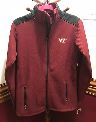 Virginia Tech Hokies Rib-Knit Jacket Full Front Zip Sweater Type- Maroon VT