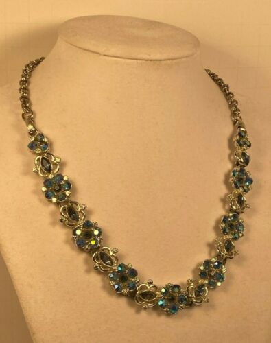 Vintage Blue Aurora Borealis Rhinestone Necklace