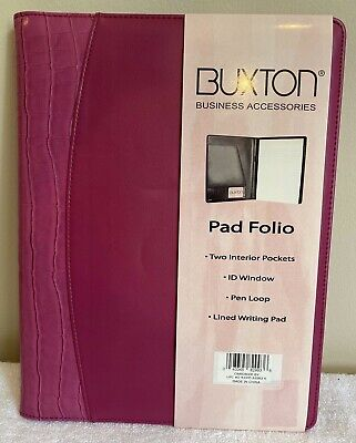 Buxton Pink Faux Leather Portfolio Pad Folio Letter Writing Pad