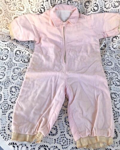 Antique Baby One Piece Suit Cotton Flannel Pink Lined w Stirrups