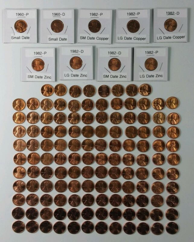 1959-2019 Lincoln Cent Set, 142 Unc. Pennies, 1960-P&D SM &LG Date, All 7 1982