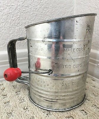 Vintage Bromwell's Flour Sifter 3 Cups Wood Handle Rustic Farmhouse Decor